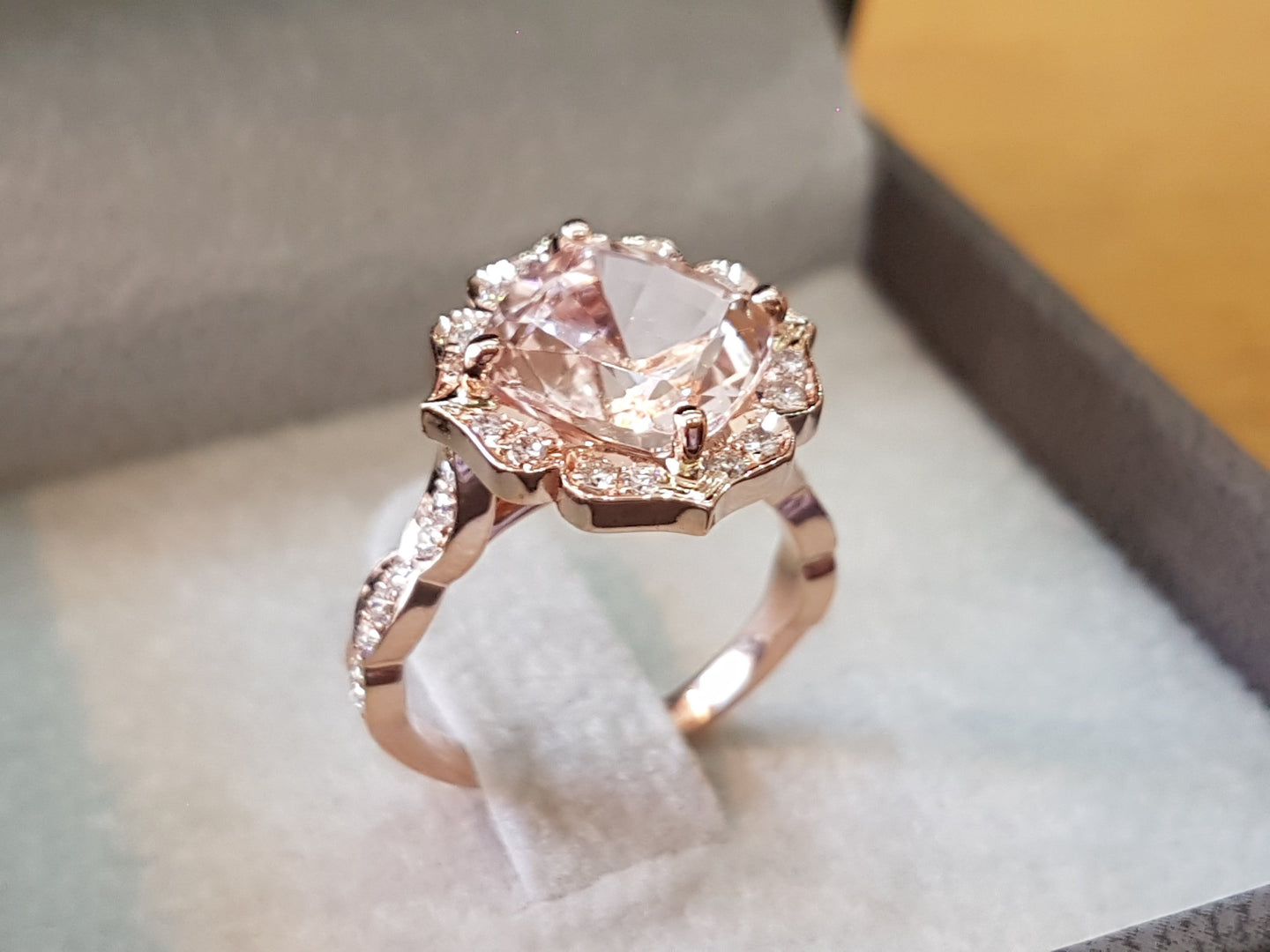 3 Carat Morganite Cushion Morganite Engagement Ring - Diamonds Mine