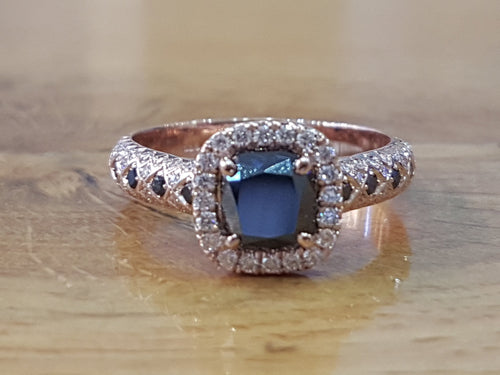 Black Diamond Halo Engagement Ring - Diamonds Mine