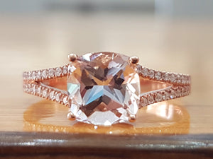 2 Carat Cushion Cut Morganite Engagement Ring - Diamonds Mine