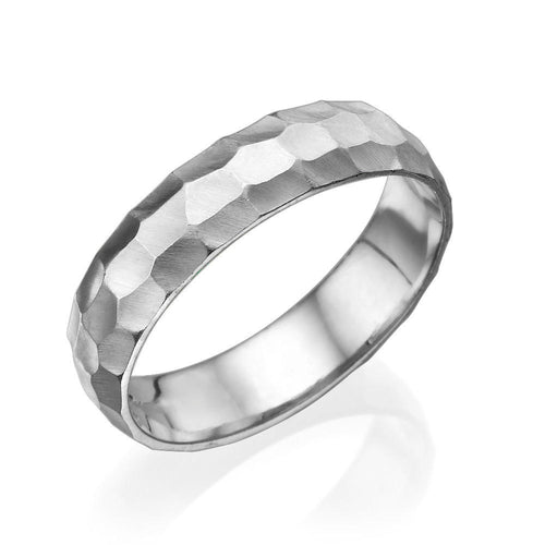 Classic Hammered Rounded Wedding Band For Men - Diamonds Mine