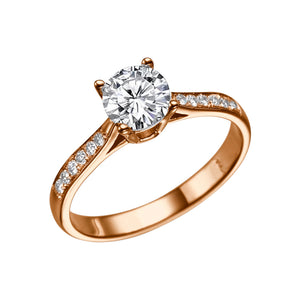 "0.6 Carat 14K Rose Gold Moissanite & Diamonds ""Diana"" Engagement Ring"