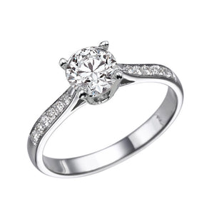 "0.6 Carat 14K White Gold Moissanite & Diamonds ""Diana"" Engagement Ring 