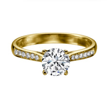 "Load image into Gallery viewer, 0.6 Carat 14K Rose Gold Moissanite & Diamonds ""Diana"" Engagement Ring"
