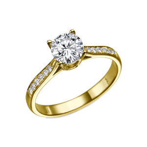 "0.6 Carat 14K White Gold Moissanite & Diamonds ""Diana"" Engagement Ring"