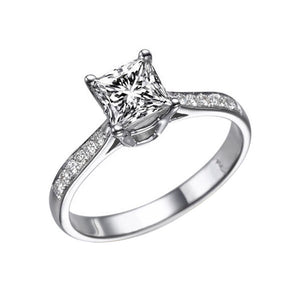 Moissanite Forever One Engagement Ring - Diamonds Mine