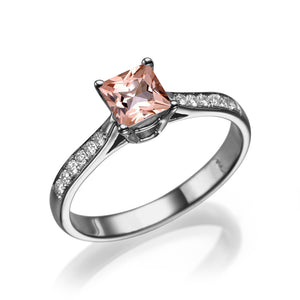 "1.5 Carat 14K White Gold Morganite ""Helen"" Engagement Ring"