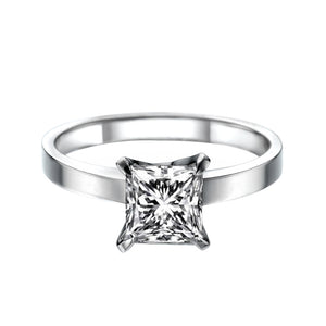 "1 Carat 14K White Gold Moissanite ""Iris"" Engagement Ring 