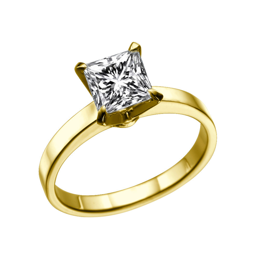 1 Carat 14K Yellow Gold Moissanite