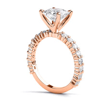 "Load image into Gallery viewer, 1.9 Carat 14K Rose Gold Moissanite & Diamonds ""Gloria"" Engagement Ring"