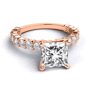 "1.9 Carat 14K Rose Gold Moissanite & Diamonds ""Gloria"" Engagement Ring"