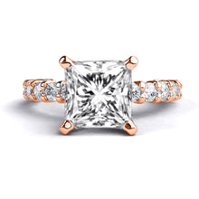 "Load image into Gallery viewer, 1.9 Carat 14K White Gold Moissanite & Diamonds ""Gloria"" Engagement Ring 