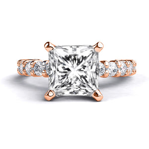 "1.9 TCW 14K Rose Gold Forever One Moissanite ""Gloria"" Engagement Ring"