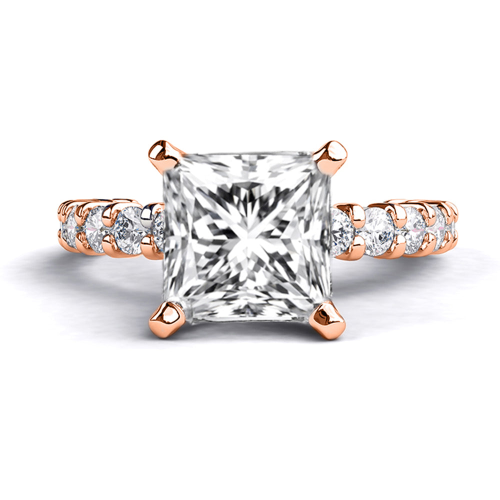 1.9 Carat 14K Rose Gold Moissanite & Diamonds