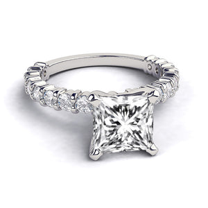 "1.9 Carat 14K White Gold Moissanite & Diamonds ""Gloria"" Engagement Ring"