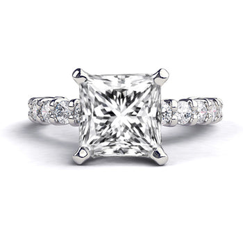 1.9 Carat 14K White Gold Moissanite & Diamonds
