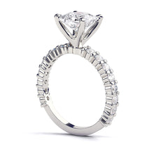 "Load image into Gallery viewer, 1.9 Carat 14K White Gold Moissanite & Diamonds ""Gloria"" Engagement Ring"