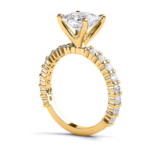 "1.9 Carat 14K Yellow Gold Moissanite & Diamonds ""Gloria"" Engagement Ring"