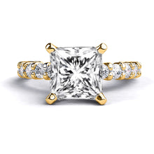 "Load image into Gallery viewer, 1.9 Carat 14K Yellow Gold Moissanite & Diamonds ""Gloria"" Engagement Ring"