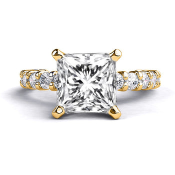 1.9 Carat 14K Yellow Gold Moissanite & Diamonds
