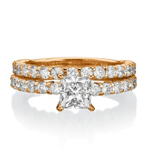 "Load image into Gallery viewer, 2.9 Carat 14K Yellow Gold Moissanite & Diamonds ""Princess"" Wedding Set"
