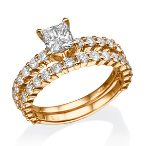 "2.9 TCW 14K Yellow Gold Moissanite ""Princess"" Wedding Set"