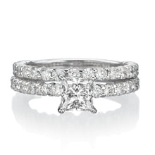"Load image into Gallery viewer, 2.9 Carat 14K White Gold Diamond ""Princess"" Wedding Set"