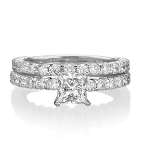 "2.9 Carat 14K White Gold Diamond ""Princess"" Wedding Set"