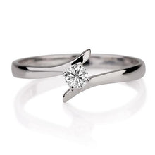 "Load image into Gallery viewer, 0.1 Carat 14K White Gold Solitaire Twist Diamond ""Isabel"" Engagement Ring"