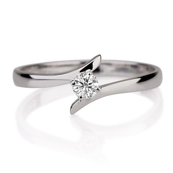 0.1 Carat 14K White Gold Solitaire Twist Diamond