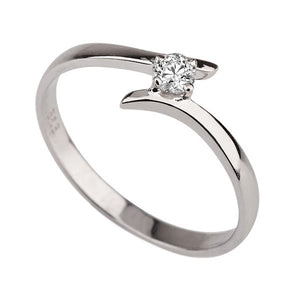 "0.1 Carat 14K White Gold Solitaire Twist Diamond ""Isabel"" Engagement Ring - Diamonds Mine"