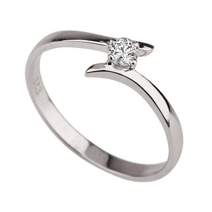"0.1 Carat 14K White Gold Solitaire Twist Moissanite ""Isabel Engagement Ring - Diamonds Mine"