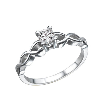 "0.3 Carat 14K White Gold Diamond  ""Amelia"" Engagement Ring - Diamonds Mine"