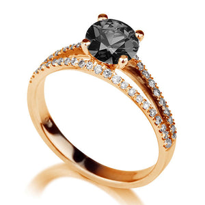 "1.36 TCW 14K White Gold Black Diamond ""Beverly"" Engagement Ring"