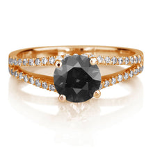 "Load image into Gallery viewer, 1.3 Carat 14K White Gold Black Diamond ""Beverly"" Engagement Ring"