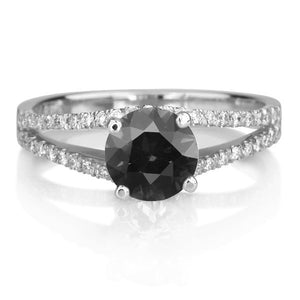 "1.3 Carat 14K White Gold Black Diamond ""Beverly"" Engagement Ring"