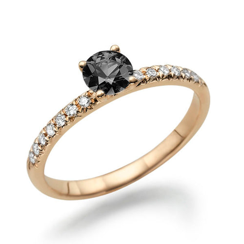 0.6 Carat 14K Rose Gold Black Diamond