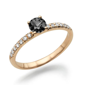 "0.6 Carat 14K Yellow Gold Black Diamond ""Linda"" Engagement Ring"