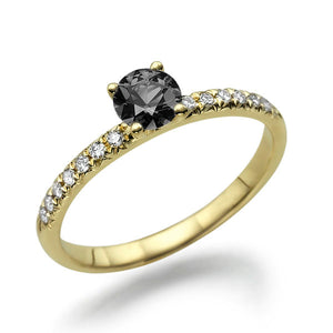 "0.6 Carat 4K White Gold Black Diamond ""Linda"" Engagement Ring"