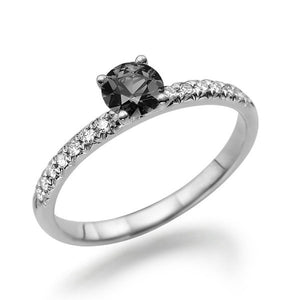 "0.64 TCW 14K White Gold Black Diamond ""Linda"" Engagement Ring - Diamonds Mine"