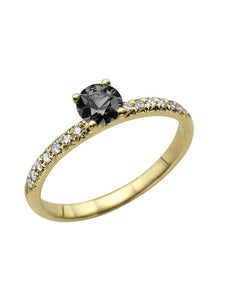 "0.64 TCW 14K Yellow Gold Black Diamond ""Linda"" Engagement Ring - Diamonds Mine"