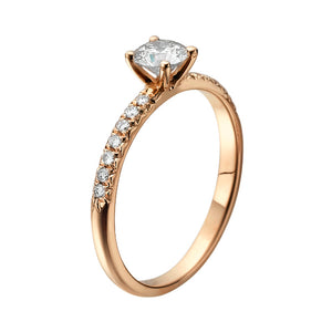 "0.6 Carat 14K Rose Gold Moissanite & Diamonds ""Linda"" Engagement Ring"