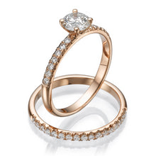 "Load image into Gallery viewer, 0.8 Carat 14K Rose Gold Moissanite & Diamonds ""Linda"" Wedding Set"