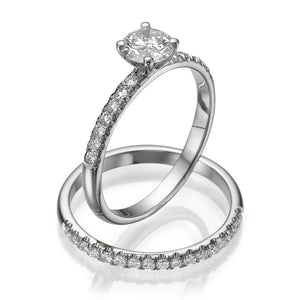 Round Moissanite Wedding Set - Diamonds Mine