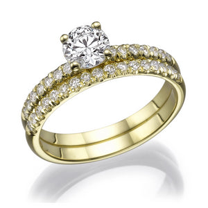 "0.8 Carat 14K Yellow Gold Moissanite & Diamonds ""Linda"" Wedding Set"