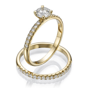 "0.8 Carat 14K Rose Gold Moissanite & Diamonds ""Linda"" Wedding Set"