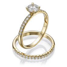"Load image into Gallery viewer, 0.8 Carat 14K Yellow Gold Moissanite & Diamonds ""Linda"" Wedding Set"