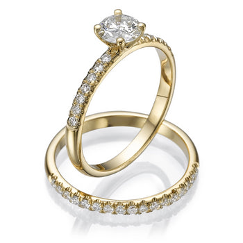 0.8 Carat 14K Yellow Gold Moissanite & Diamonds
