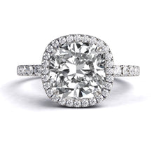 "Load image into Gallery viewer, 7.5MM (1.7ct) Cushion Cut Halo Moissanite Ring ""Madison"" 14K Solid Gold - Diamonds Mine"