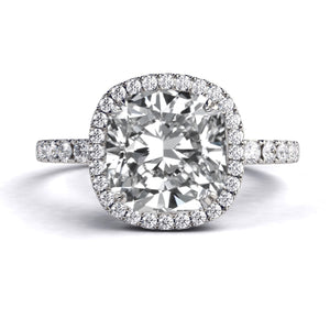 "7.5MM (1.7ct) Cushion Cut Halo Moissanite Ring ""Madison"" 14K Solid Gold - Diamonds Mine"