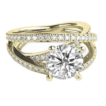 "Load image into Gallery viewer, 1.5 Carat 14K Yellow Gold Moissanite & Diamonds ""Victoria"" Engagement Ring"